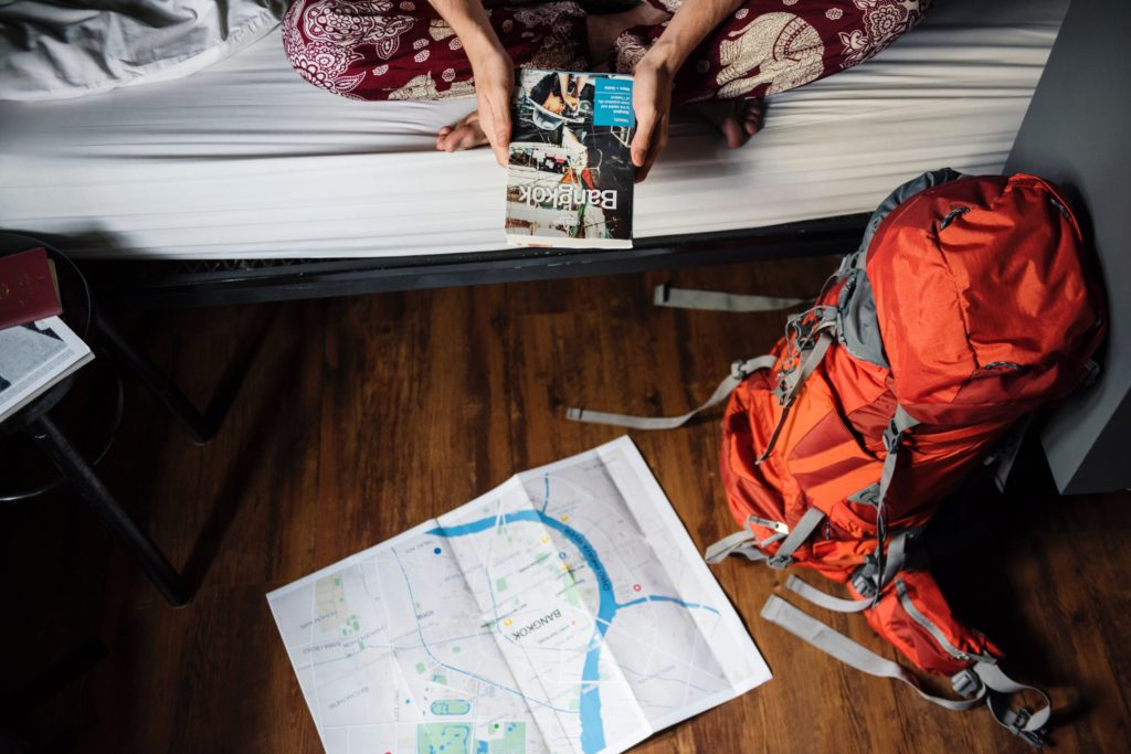 backpack, map and GPS