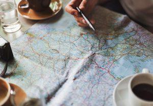 Coffee, map, planning