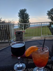 Cabernet Wine and Old Fashion at the Illinois Beach Hotel by Lake Michigan