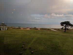 View from Balcony at Illinois Beach Hotel Restaurant Lake Michigan